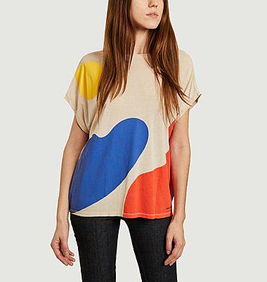 T-shirt en lyocell et coton imprimé paysage