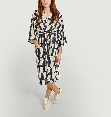 Kimono en lyocell et lin imprimé rectangles