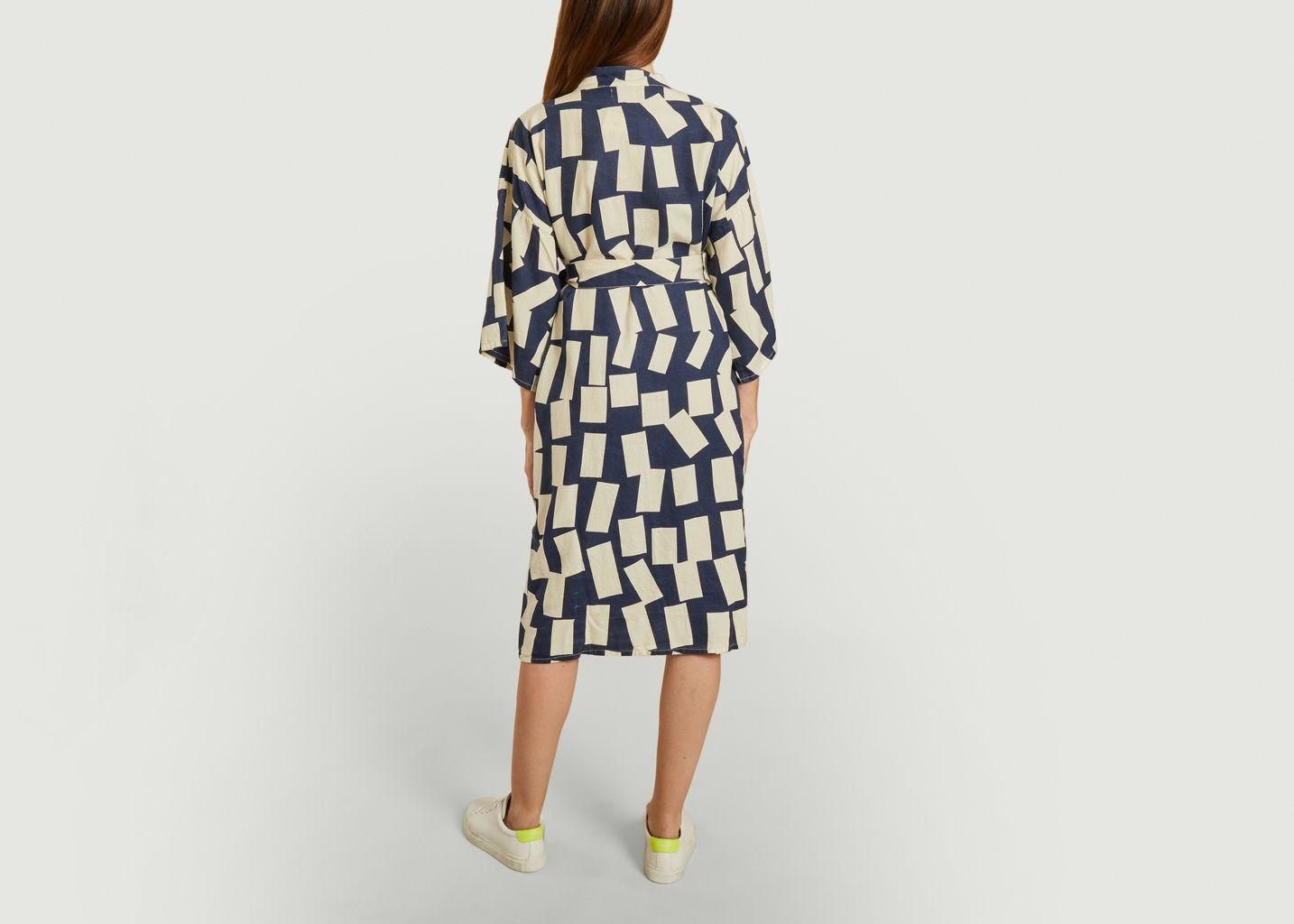 Kimono en lyocell et lin imprimé rectangles  - Bobo Choses
