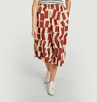Pantalon court large imprimé rectangles
