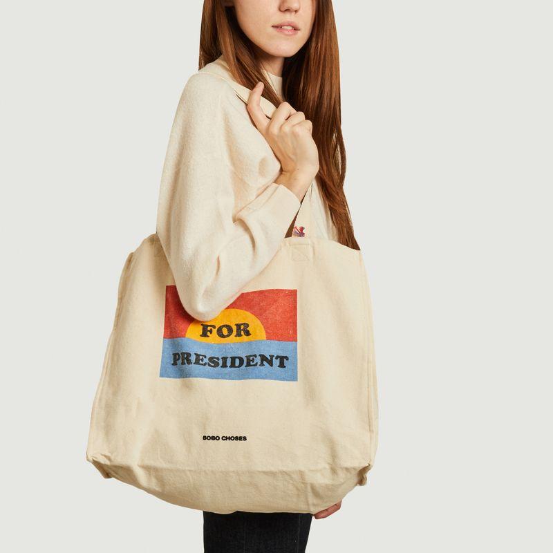 Tote bag en coton imprimé For President - Bobo Choses