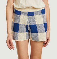Checked knit shorts