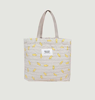Hand pattern quilted tote bag