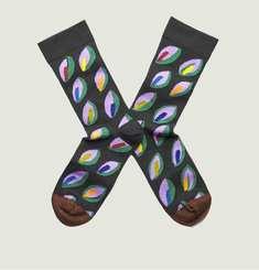 Chaussettes Motif Feuilles Multicolores