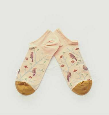 Birds pattern ankle socks with contrasting tip