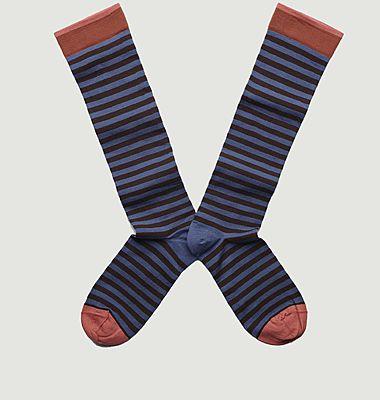 Chaussettes mi-bas à rayures et bords contrastés