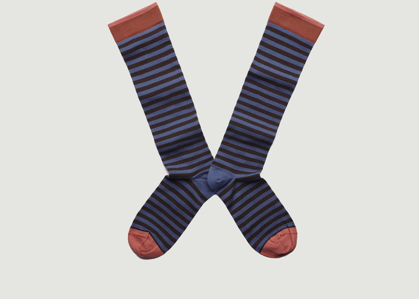 Chaussettes mi-bas à rayures et bords contrastés - Bonne Maison