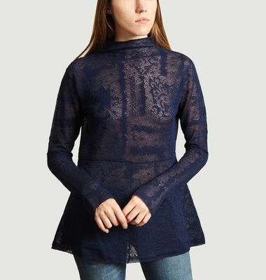 Top Mauria Col Montant Dentelle Nuit