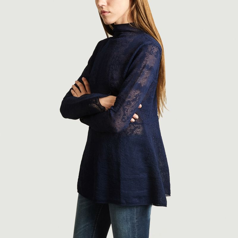 Top Mauria Col Montant Dentelle Nuit - By Malene Birger