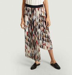 Piza patchwork print pleated skirt