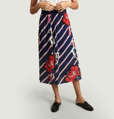 Biella striped skirt with flowers