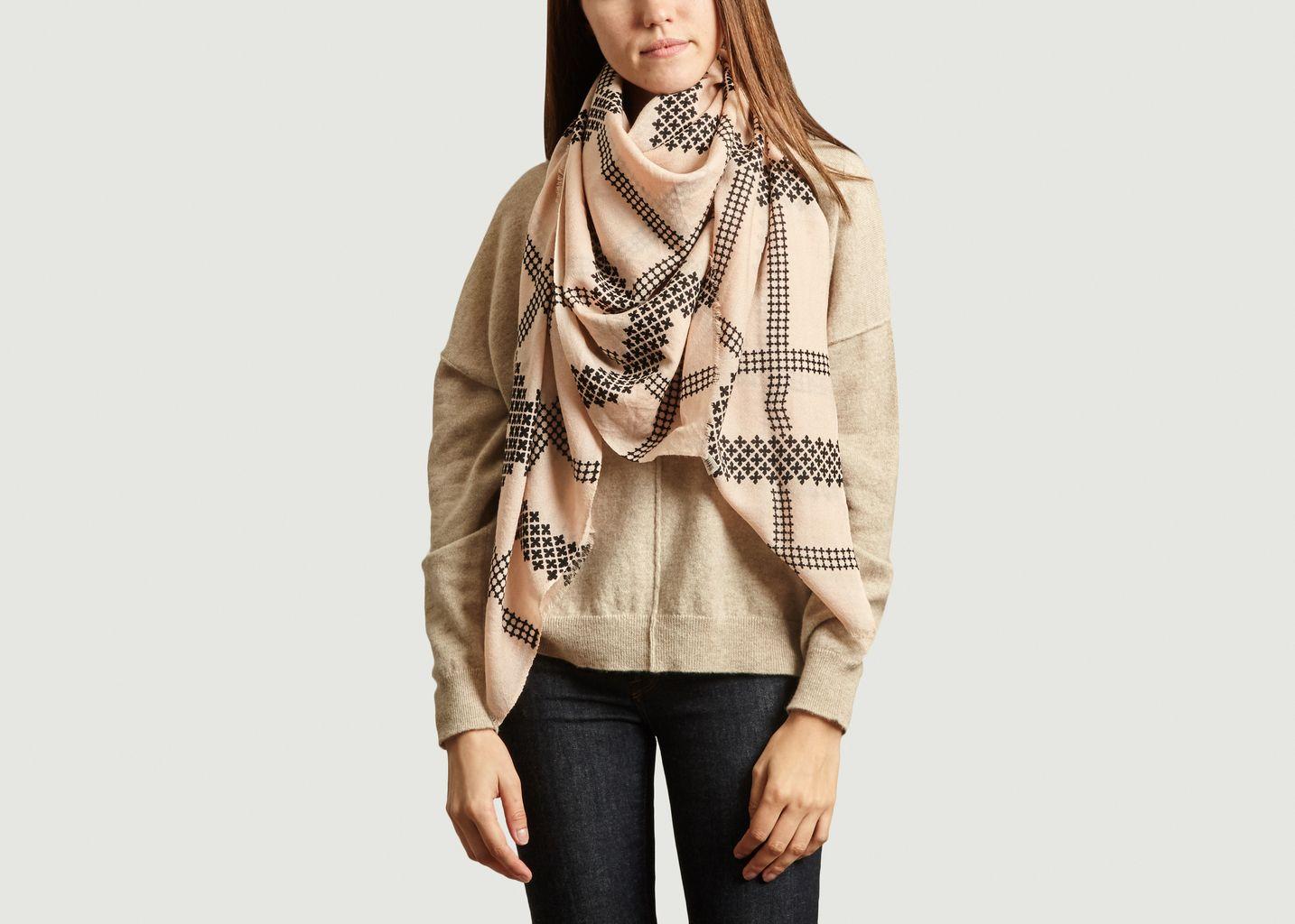 Écharpe carrée à carreaux en laine Milou - By Malene Birger