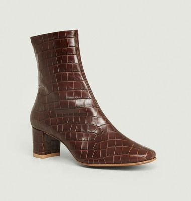Bottines Sofia Croco Nutella