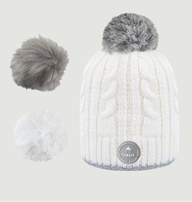 Creamy Gin Beanie With 3 Pompons