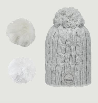 Creamy Gin Beanie Whit 3 Pompons