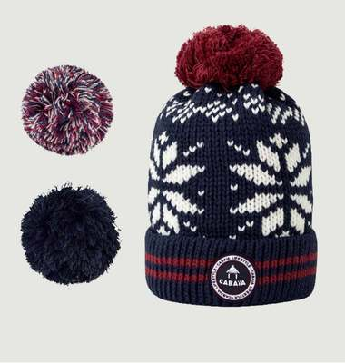 Perroquet Fleece Lined Beanie With 3 Pompons