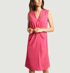 Plunge Neck Plain Draped Front Dress