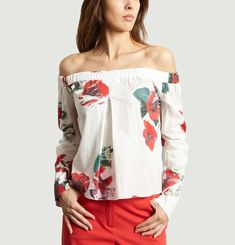 Top Off-Shoulder Motif Fleuri