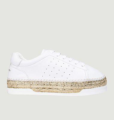 Sneakers en cuir et corde métallisée à plateforme Lancry