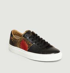 Sneakers Empiècement Effet Python Louis