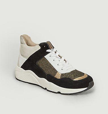 Sneakers semi-montantes en cuir et tissu Henri
