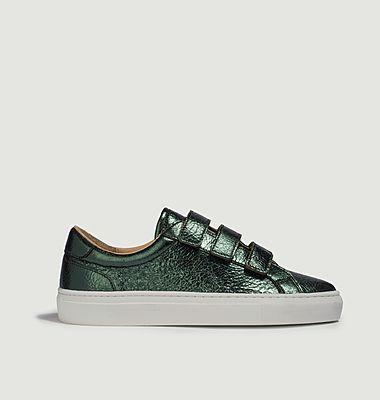 Sneakers en cuir métallisé à scratchs Malte