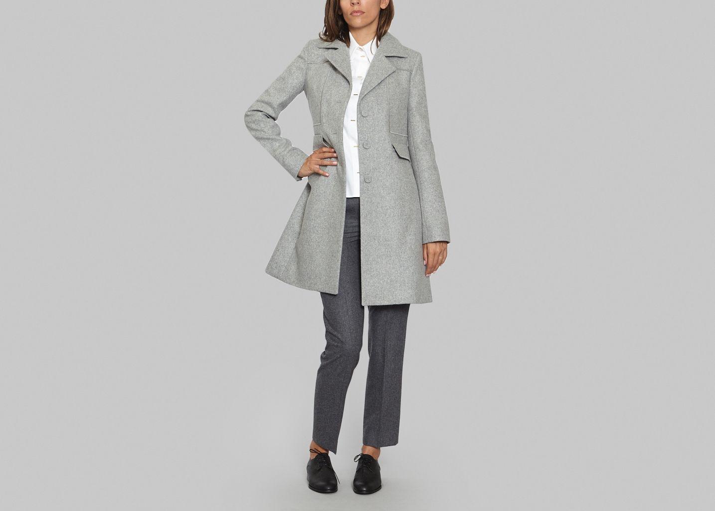 manteau drap de laine carven gris l 39 exception. Black Bedroom Furniture Sets. Home Design Ideas