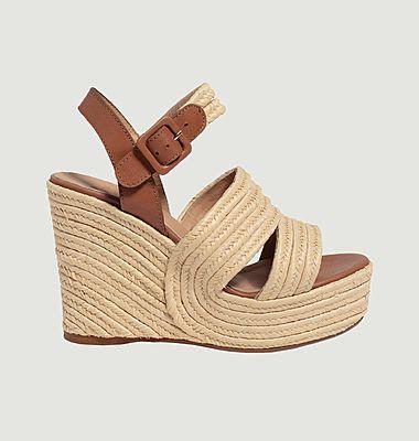 Sandales Java compensées en raphia