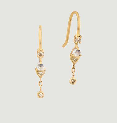 Boucles d'oreilles dormeuses Moonstone and diamonds
