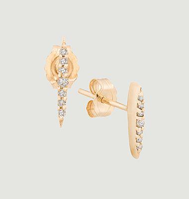 Boucles d'oreilles puces or et diamants Sunbeams