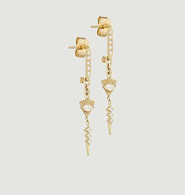 Boucles d'oreilles pendantes saphirs et diamants Totem