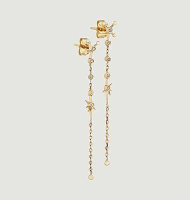Boucles d'oreilles pendantes chaîne et diamants Constellation