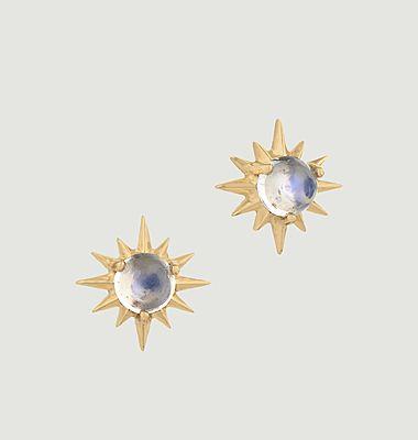 Boucles d'oreilles puces Sun Moonstone