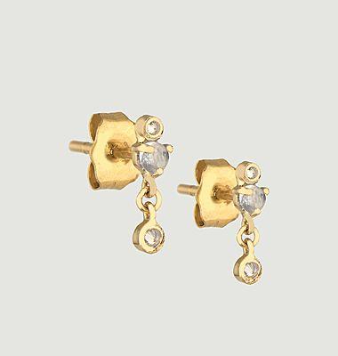 Boucles d'oreilles puces Moonstones and diamonds