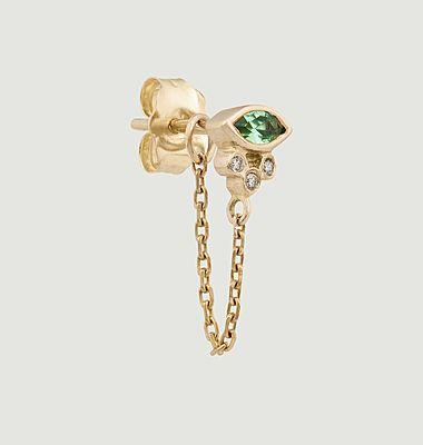 Boucle d'oreille pendante Emerald Marquise & diamonds