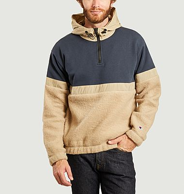 Bi-material hoodie with zipped high collar