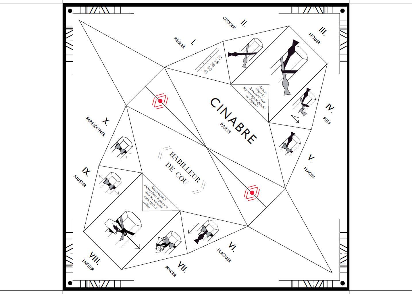 Tetris Bow Tie Red Cinabre Lexception Tying Diagram