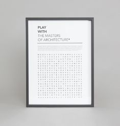 Affiche Play With The Master Of Architecture