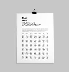 Play With The Master Of Architecture Poster