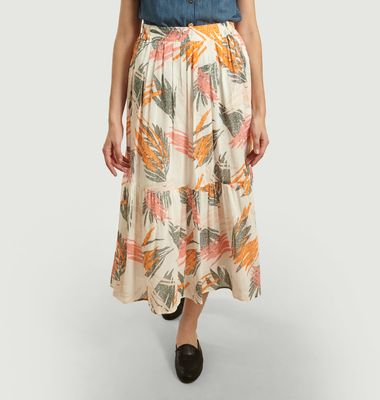 Leaf printed long skirt