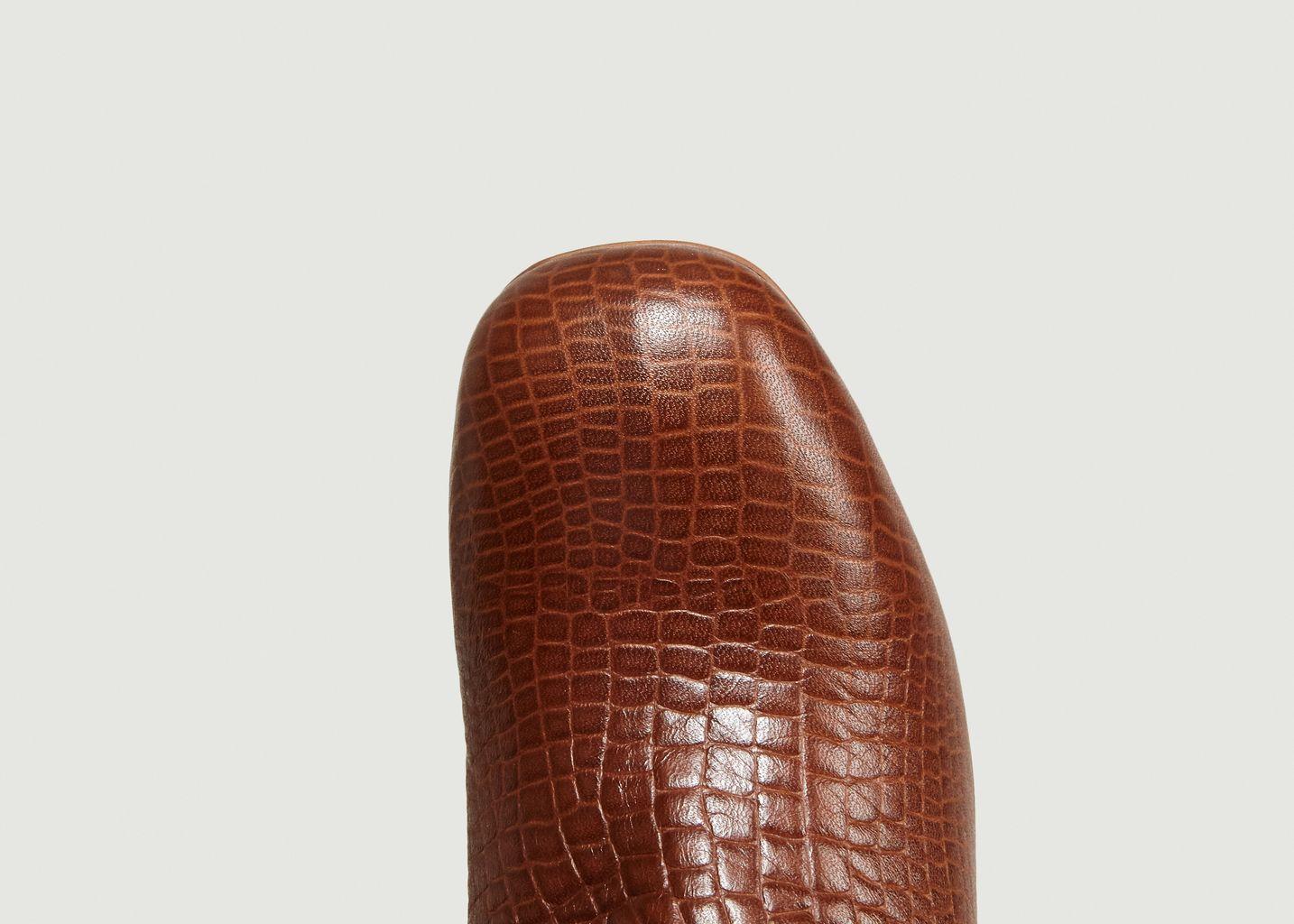 Boots En Cuir Façon Croco April - Craie