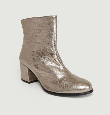 Boots En Cuir D'Agneau Lamé Avenir