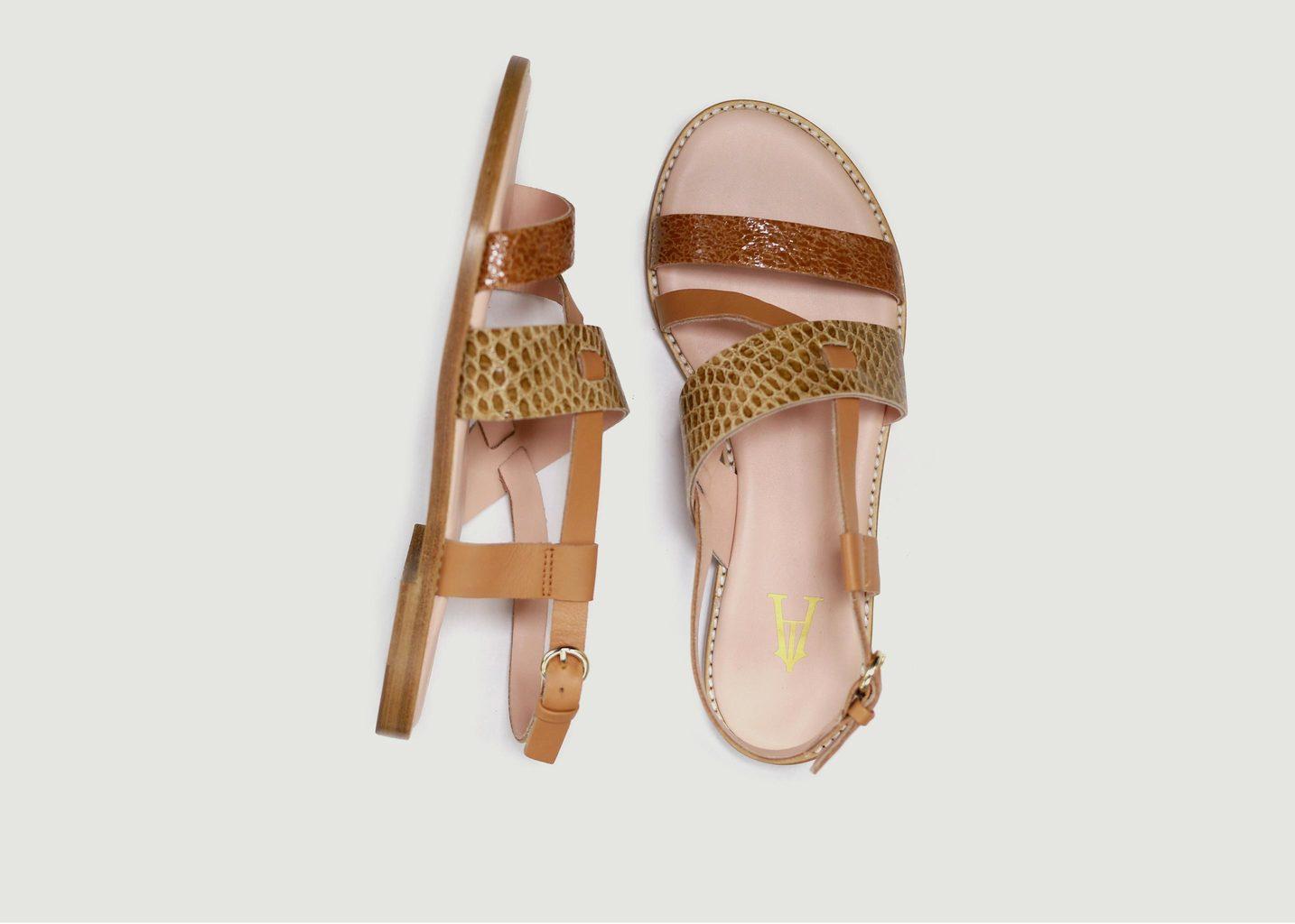 Sandales en cuir Trilogie - Craie