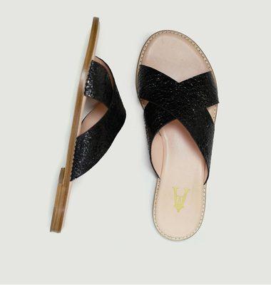 Sandales en cuir craquelé Infinity