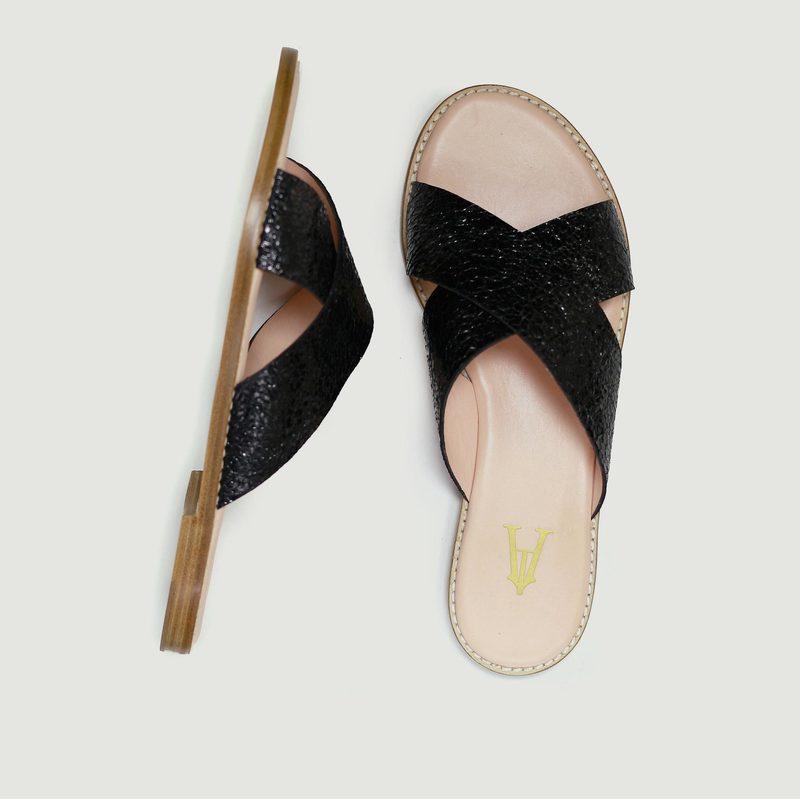 Sandales en cuir craquelé Infinity - Craie