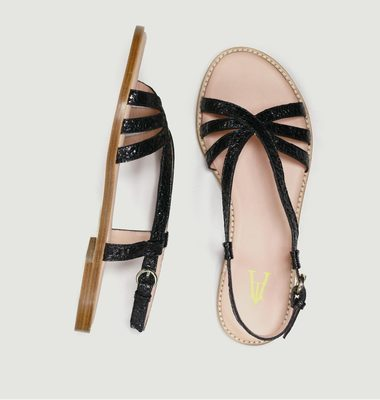 Sandales en cuir craquelé Peinture
