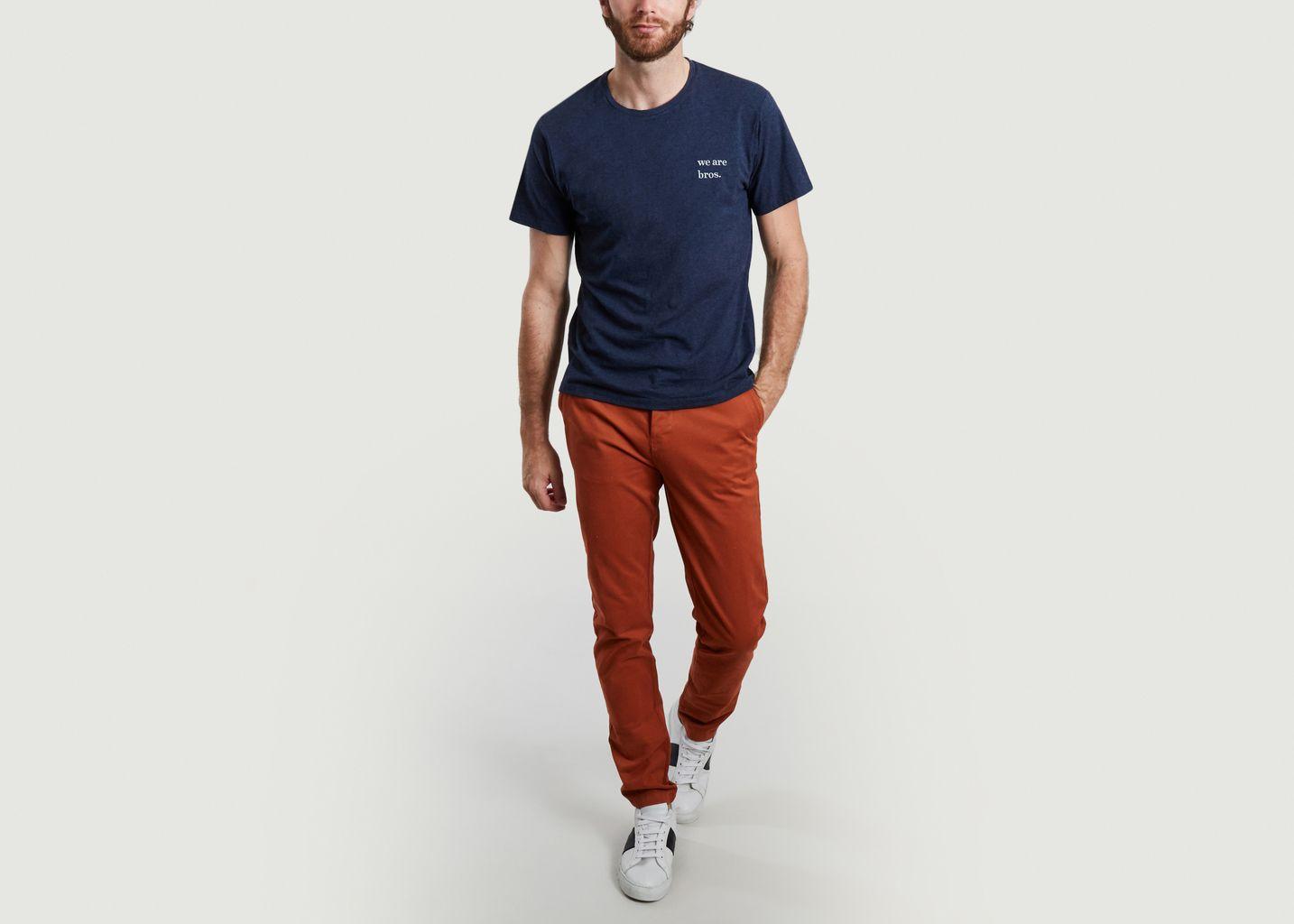 T-shirt en coton bio brodé we are bros Kennedy - Cuisse de Grenouille