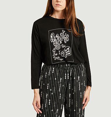 T-shirt manches longues en coton et rayonne imprimé