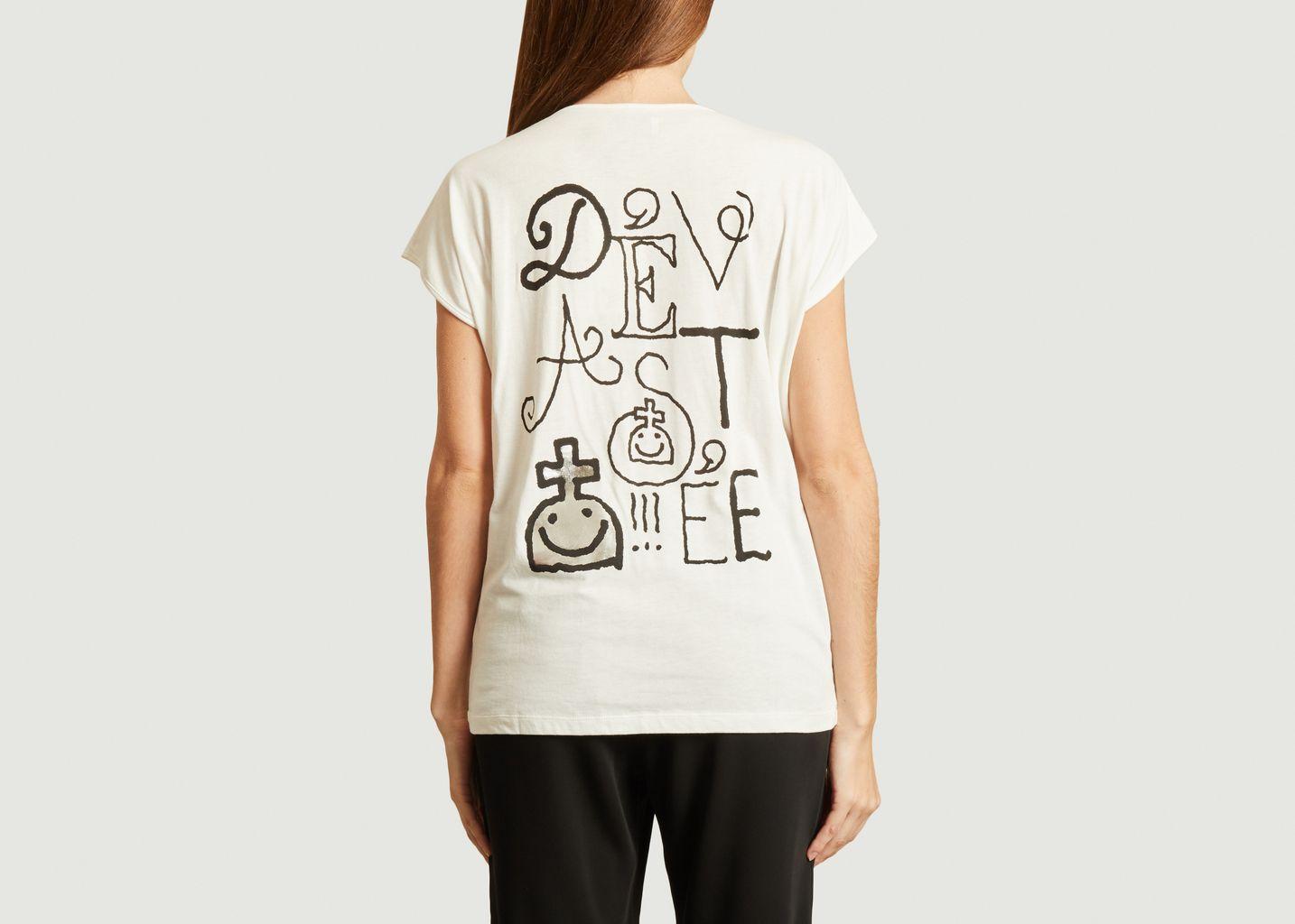 T-shirt en coton et rayonne imprimé dos - Dévastée