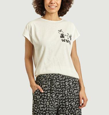 T-shirt doux brodé